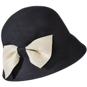 Merona Black Flapper Hat with White Bow